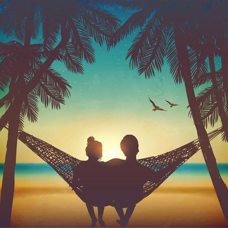 Paare in der Liebe am Strand auf Hängematte. Inspiration für die Hochzeit, Datum, romantische Reise-Karte. Familie Vektorgrafik
