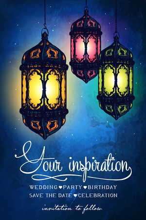 date night: Amazing Moroccan vintage lanterns at magical night sky background. Unusual illustration. Inspiration card. Festive hanging Arabic lamps. Illustration