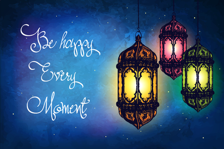 date night: Amazing Moroccan vintage lanterns at magical night sky background. Unusual illustration. Inspiration card. Festive hanging arabic lamps.