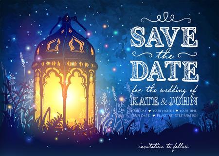 Incroyable Lanten millésime moroccan sur l'herbe avec des lumières magiques de lucioles au ciel nocturne fond. illustration insolite. carte Inspiration Banque d'images - 58944608