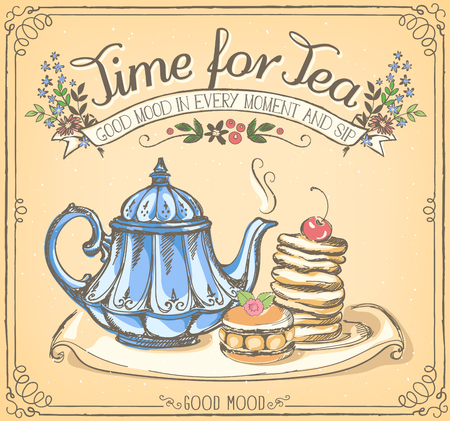 Illustration with the words Time for tea with teapot and pancakes. Freehand drawing with imitation of chalk sketch