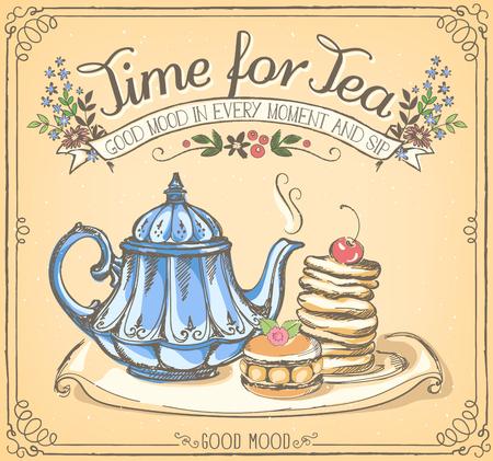 Illustration avec les mots temps pour le thé avec la théière et des crêpes. dessin Freehand avec imitation de craie croquis Vecteurs