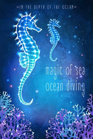 plancton: caballito de mar en la profundidad del océano. ilustración inusual. tarjeta de la inspiración