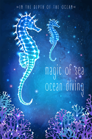 Sea horse in the depth of the ocean. Unusual illustration. Inspiration card