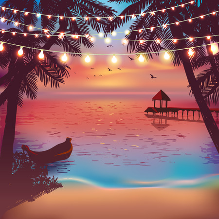 Hanging decorative holiday lights for a beach party. Inspiration card for wedding, date, birthday. Beach party invitation. Travel poster
