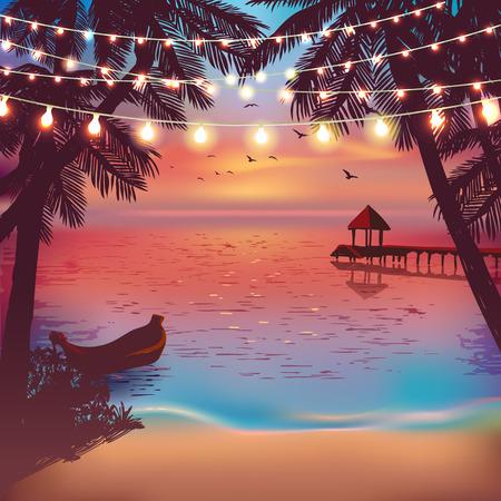 Luces decorativas colgantes para una fiesta en la playa. Tarjeta de inspiración para boda, fecha, cumpleaños. Invitación a fiesta de playa. Cartel de viaje