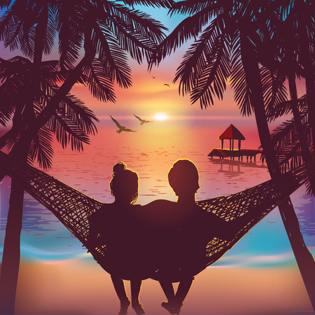 couple date: Couple in love at the beach on hammock. Inspiration for wedding, date, romantic travel card. Family