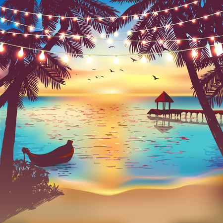 holiday lights: Hanging decorative holiday lights for a beach party. Inspiration card for wedding, date, birthday. Beach party invitation. Travel poster