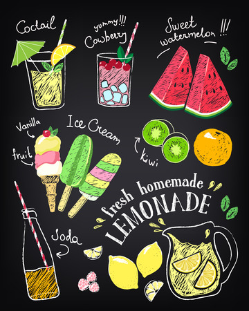 Set of hand drawn stickers and icons of summer food and drink.