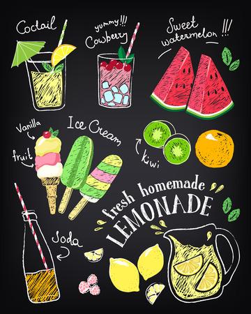 Zestaw naklejek narysowanych ręcznie i ikony latem żywności i napojów.