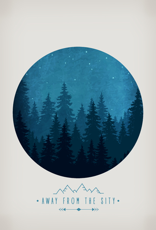 forrest: Woodland scenery. Silhouette of forest at night sky. Inspirational quote to rest outdoors and holidays out of town. Wildlife and nature Illustration