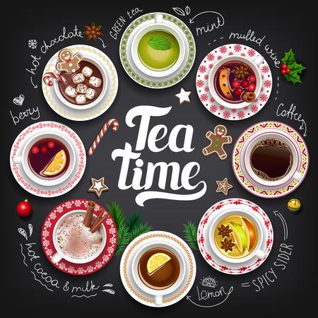 Large collection Tea Time. Ilustração Vetorial