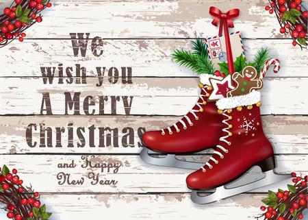 冬ビンテージ スケートを持つクリスマスのグリーティング カード。素朴な木製の背景のお祭りの装飾