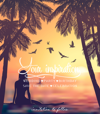 Young girl sitting on surfboard at the sunset beach background. Inspiration card Illustration