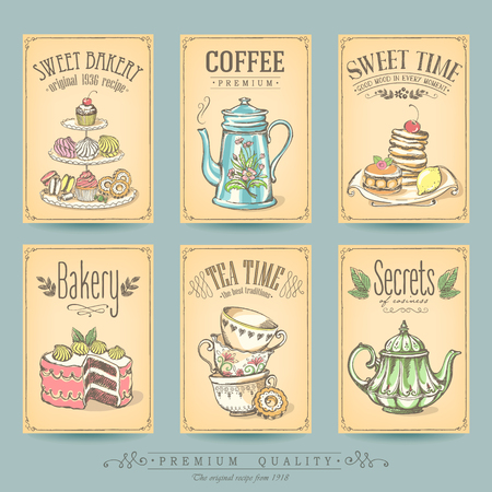 Card collection pastries and tea. Vintage posters of bakery sweet shop or coffee house. Freehand drawing, sketch