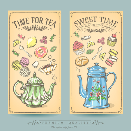 sweet pastries: Cards of pastries and tea. Vintage posters of bakery sweet shop or coffee house. Freehand drawing, sketch Illustration