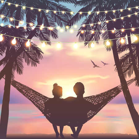 Couple in love at the beach on hammock. Inspiration for wedding, date, romantic travel card. Hanging decorative holiday lights. Family