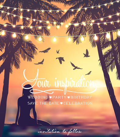 Young girl sitting on surfboard at the sunset beach background. Hanging decorative holiday lights for a beach party. Inspiration card