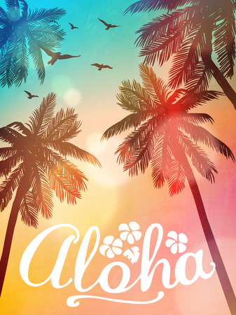 Summer beach illustration Aloha. Inspiration card for wedding, date, birthday, tropical party invitation.