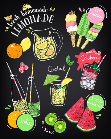 Set of hand drawn stickers and icons of summer food and drink. Vector illustrations for beach restaurant and bar menu, vacation and party. Ice cream. Sketch on chalkboard