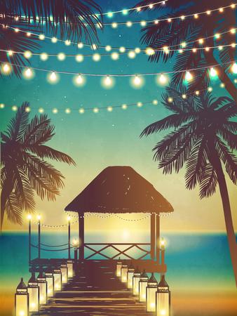 Hängende dekorative Weihnachtslichter für eine Strandparty. Inspirationskarte für Hochzeit, Datum, Geburtstag. Einladung zur Strandparty