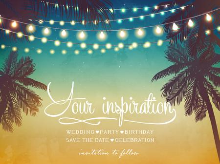 Suspension de lumières de Noël décoratives pour une invitation à une fête sur la plage. Carte d'inspiration pour mariage, date, anniversaire Vecteurs