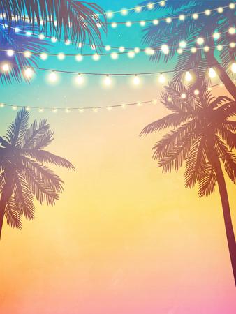 Colgar luces navideñas decorativas para una invitación a una fiesta en la playa. Tarjeta de inspiración para boda, fecha, cumpleaños. Ilustración de vector