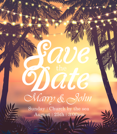 Hanging decorative holiday lights for a beach party invitation. Inspiration card for wedding, date, birthday, travel advertising