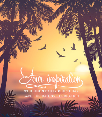 Carta di ispirazione estiva per invito a una festa tropicale in spiaggia, matrimonio, data, compleanno, pubblicità di viaggio Vettoriali