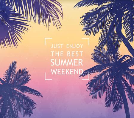 Letnia karta inspiracji na tropikalne zaproszenie na plażę, ślub, datę, urodziny, reklamę podróży