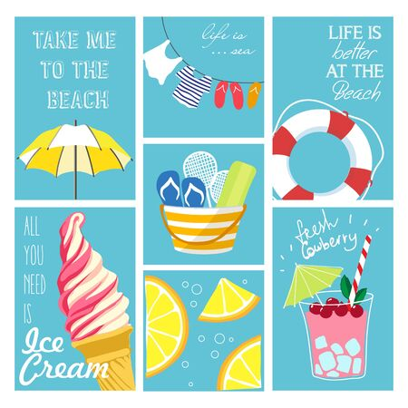 Vector set of summer cards. Beautiful modern posters with beach accessories, food, ice cream and drinks