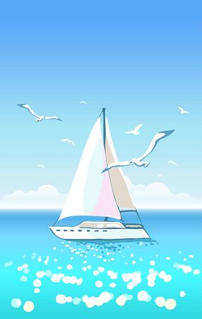 Beautiful seascape with yacht and seagulls on clear sky. Luxury vacation  イラスト・ベクター素材