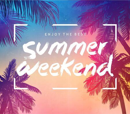 Tarjeta de inspiración de verano para invitación de fiesta tropical en la playa, boda, fecha, cumpleaños, publicidad de viajes