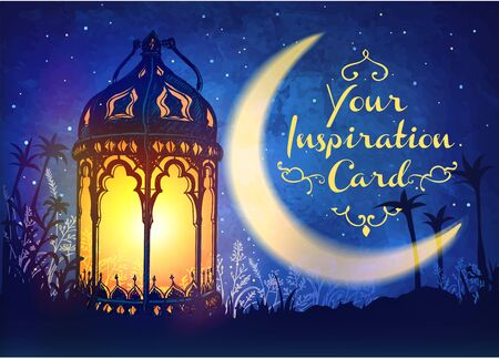 Hermoso banner con linterna árabe. Tarjeta de inspiración fabulosa para unas vacaciones y un festival.