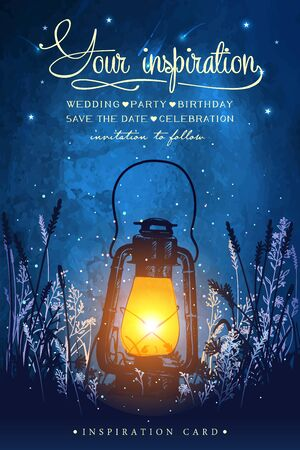 Amazing vintage lanten on grass with magical lights of fireflies at night sky background. Unusual vector illustration. Inspiration card for wedding, date, birthday, tea or garden party.