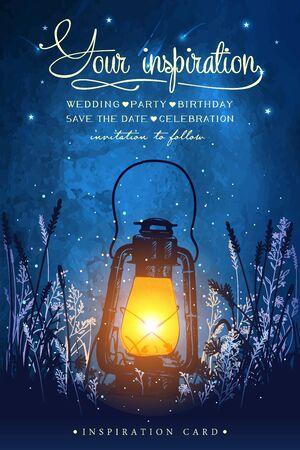 Incredibile lanterna vintage sull'erba con magiche luci di lucciole sullo sfondo del cielo notturno. Illustrazione vettoriale insolita. Biglietto di ispirazione per matrimoni, appuntamenti, compleanni, tè o feste in giardino.