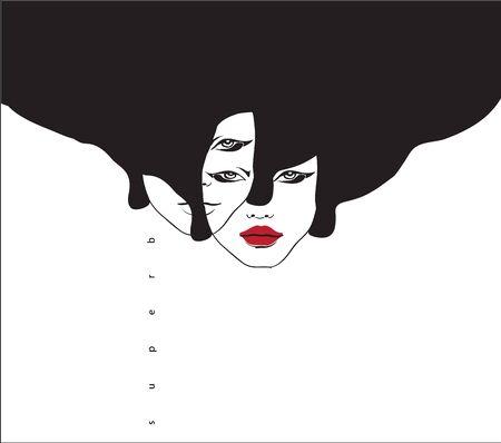 Conceptual fashionable illustration. Female portrait. Graphic art  イラスト・ベクター素材