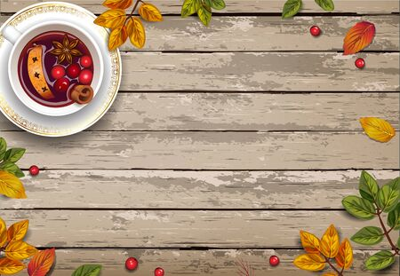Vector illustration with autumn leaves. Hot mulled wine drink on a wooden background. Seasonal and holidays concept. EPS 10