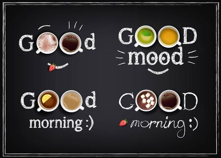 Vector illustration of good morning with drinks on a chalkboard. Collection of positive inscriptions with cups. EPS 10 Archivio Fotografico - 133538496