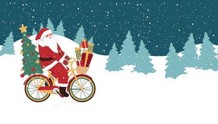 Grappige kerst illustratie. Kerstman op een fiets met geschenken. Vakantie concept