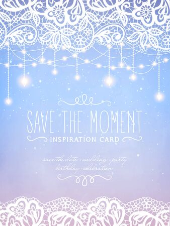 Inspiration card with magical snowfall at the floral lace background. Hanging holiday lights for a Christmas party, wedding, festival, birthday