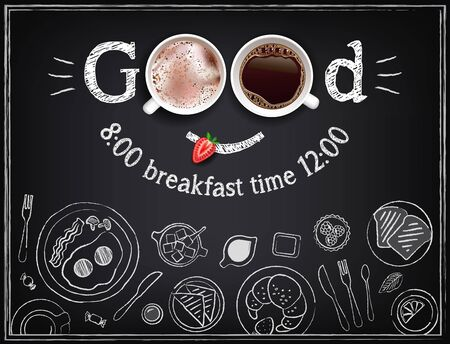 Vector illustration Good morning with drinks on a chalkboard. Chalk sketch on blackboard. Collection of breakfast food Archivio Fotografico - 133539504