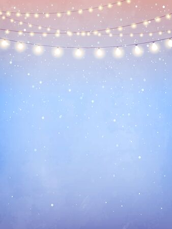 Inspiration card with magical snowfall. Hanging holiday lights for a Christmas party, wedding, festival
