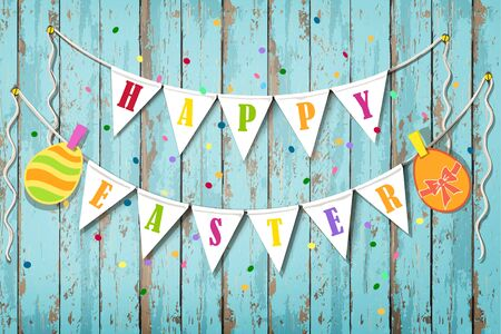 Happy Easter wooden background. Vintage banner with garland of colour decoration flags and confetti Vettoriali