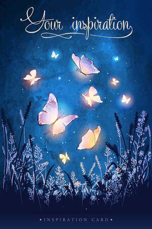 Amazing magical glowing butterflies. Unusual vector illustration. Inspiration for a wedding, date, birthday, tea or garden party. Ilustración de vector