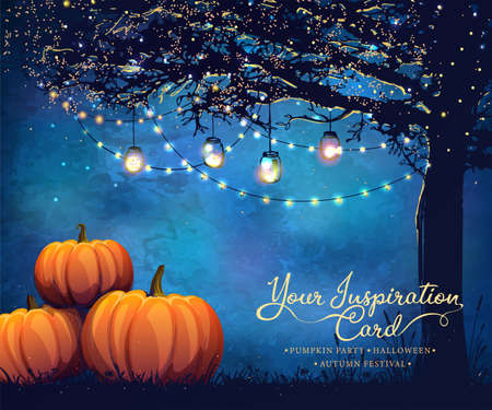 Autumn poster with holiday bulbs and pumpkins for party, halloween or festival. Illustration