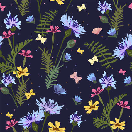Abstract seamless floral pattern. Trendy hand drawn textures for printing on fabric, paper, cover, interior decor. Design for banner, poster, card, invitation and scrapbook. 向量圖像