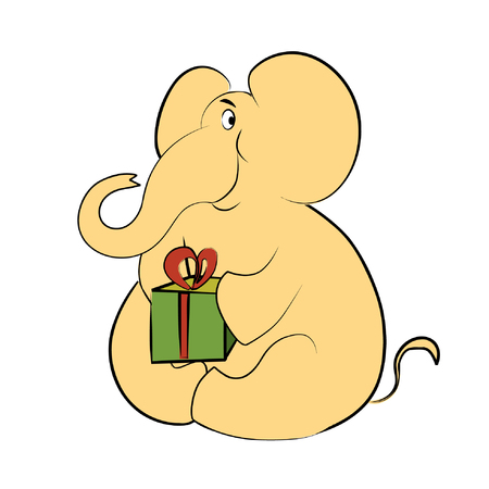 one of a kind: Vector cartoon image of a yellow elephant with a green box (gift for birthday)