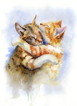 Waterverf het schilderen van katten het koesteren Stockfoto