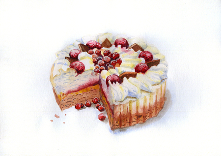 Watercolor picture of Ice-cream cake